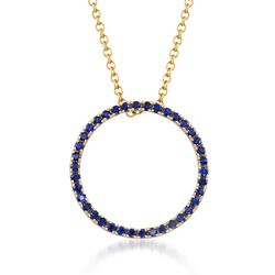 ".80 ct. t.w. Sapphire Open Eternity Circle Necklace in 14kt Yellow Gold. 18"", , default"