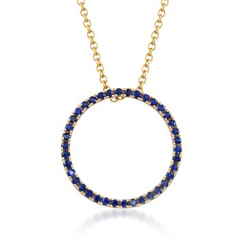 """.80 ct. t.w. Sapphire Open Eternity Circle Necklace in 14kt Yellow Gold. 18"""", , default"""