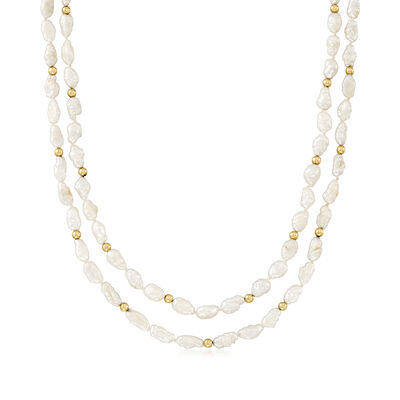 C. 1990 Vintage 5x7.5mm Cultured Baroque Pearl Double-Row Necklace with 14kt Yellow Gold