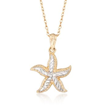 """14kt Two-Tone Gold Starfish Pendant Necklace. 18"""", , default"""