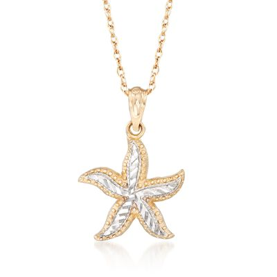 14kt Two-Tone Gold Starfish Pendant Necklace, , default