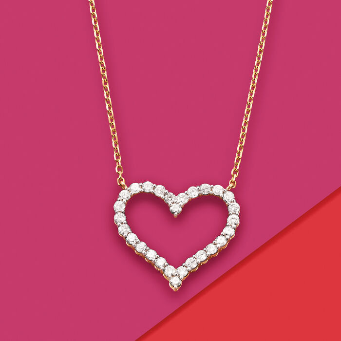 1.50 ct. t.w. Diamond Heart Necklace in 14kt Yellow Gold