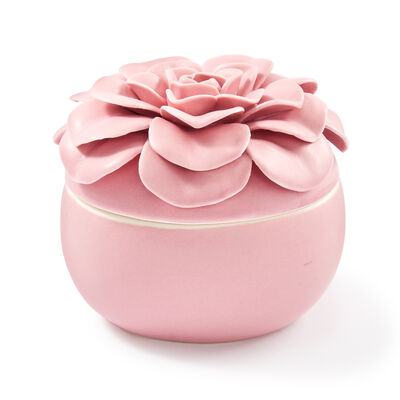 Pink Ceramic Flower Candle