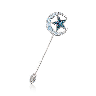 5.00 ct. t.w. London and Sky Blue Topaz Moon and Star Stick Pin in Sterling Silver