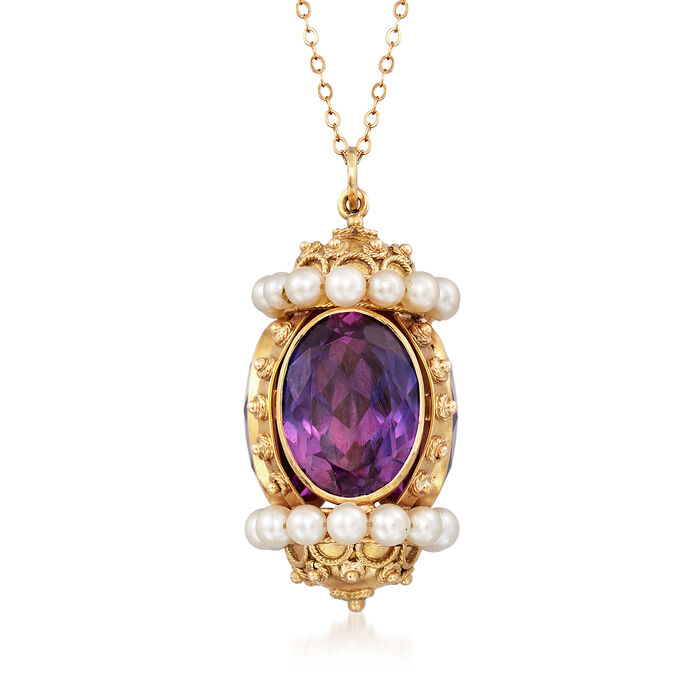 """C. 1960 Vintage Cultured Pearl and 36.00 ct. t.w. Synthetic Sapphire Pendant Necklace in 18kt Yellow Gold. 18"""", , default"""