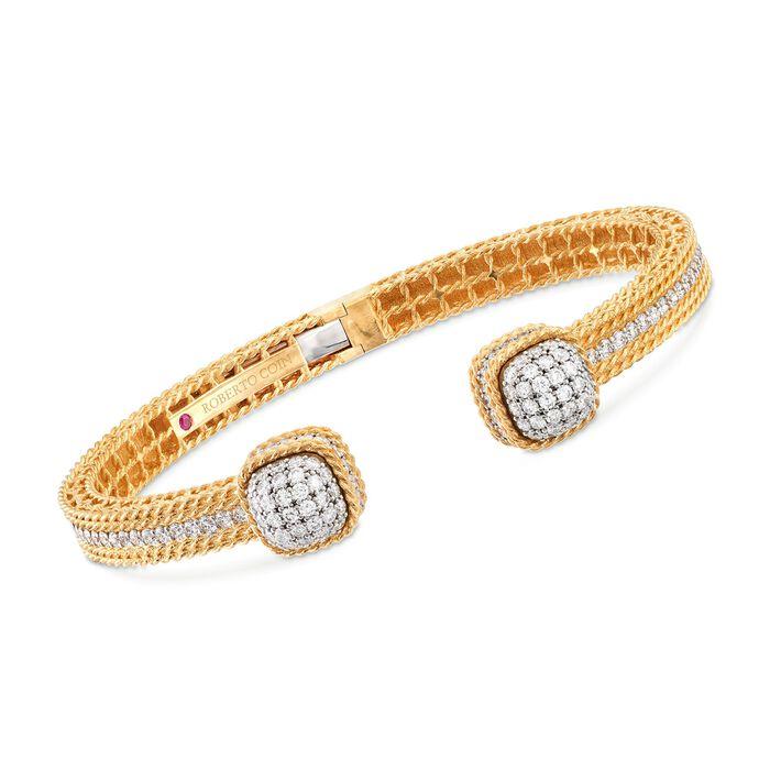"Roberto Coin ""Barocco"" 2.19 ct. t.w. Diamond Cuff Bracelet in 18kt Yellow Gold. 7"", , default"