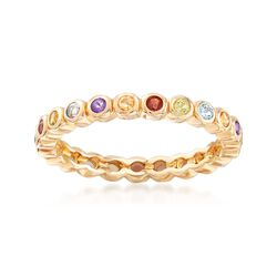 1.20 ct. t.w. Multi-Stone Eternity Band in 18kt Gold Over Sterling, , default