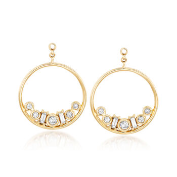 .50 ct. t.w. Diamond Circle Drop Earring Jackets with Diamond-Accented Studs in 14kt Yellow Gold