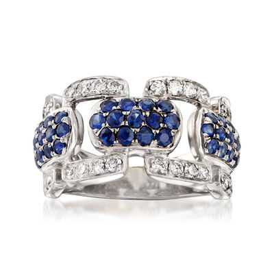 C. 1980 Vintage 1.18 ct. t.w. Sapphire and .53 ct. t.w. Diamond Link Ring in 14kt White Gold, , default