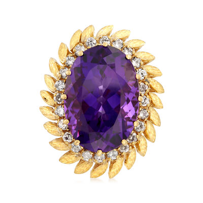 C. 1970 Vintage 26.50 Carat Amethyst and 1.20 ct. t.w. Diamond Leaf Ring in 18kt Yellow Gold, , default