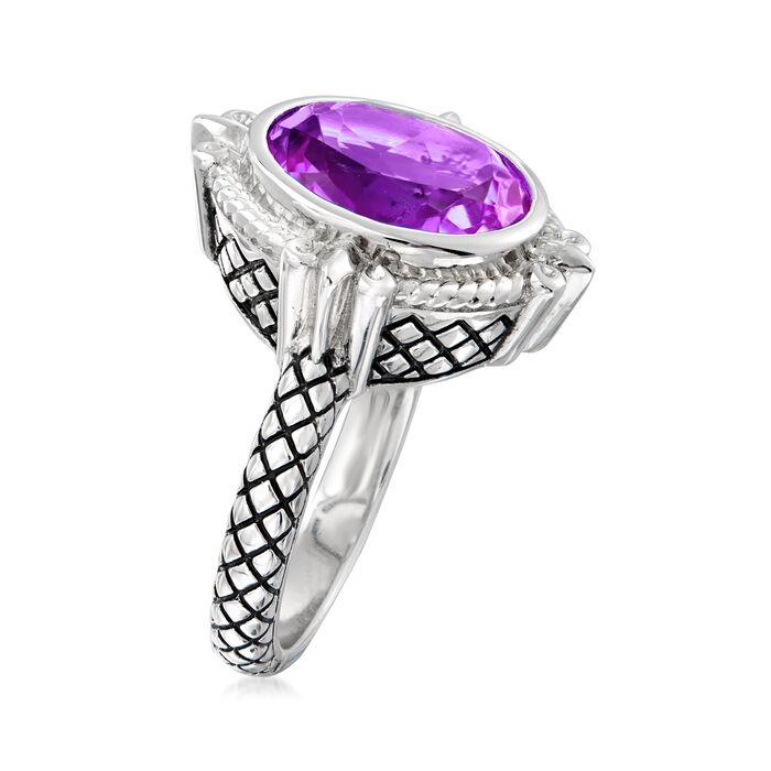 "Andrea Candela ""Fleur De Lis"" 4.31 Carat Amethyst Ring in Sterling Silver"