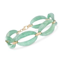 Green Jade Link Bracelet in 14kt Yellow Gold , , default