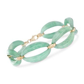"""Green Jade Link Bracelet in 14kt Yellow Gold. 7"""", , default"""