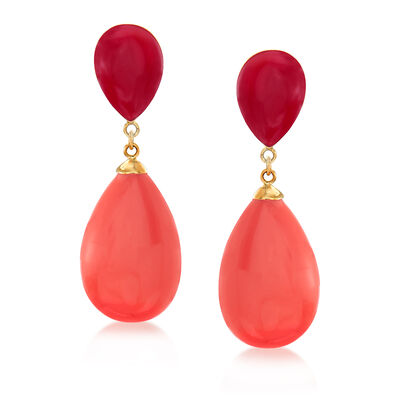Red Coral and Light Coral Teardrop Earrings in 14kt Yellow Gold