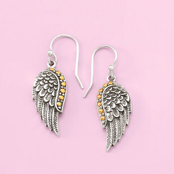Two-Tone Sterling Silver Feathered Wing Drop Earrings, , default