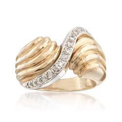 C. 1980 Vintage .30 ct. t.w. Diamond Ribbed Wave Ring in 14kt Yellow Gold. Size 6, , default