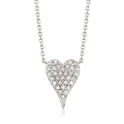 .21 ct. t.w. Pave Diamond Heart Necklace in 14kt White Gold, , default