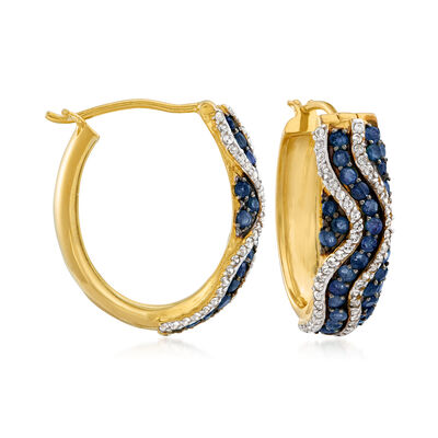 1.30 ct. t.w. Sapphire and .80 ct. t.w. White Zircon Hoop Earrings in 18kt Gold Over Sterling