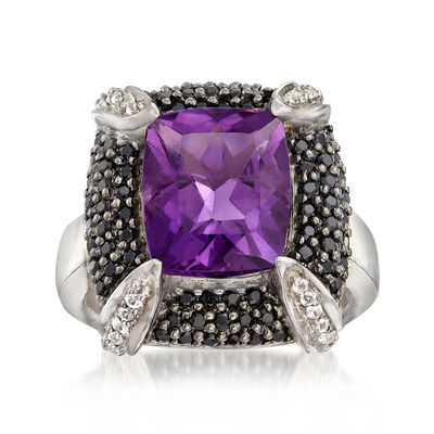 4.50 Carat Amethyst and 1.00 ct. t.w. Black Spinel With White Topaz in Sterling Silver, , default