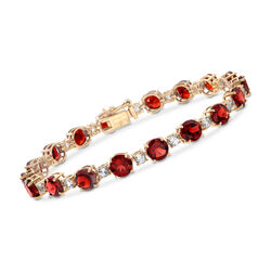 18.80 ct. t.w. Garnet and White Topaz Tennis Bracelet in 18kt Yellow Gold Over Sterling Silver, , default