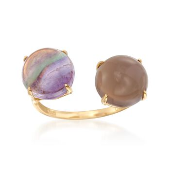 Purple Fluorite and Gray Agate Ring in 18kt Yellow Gold, , default