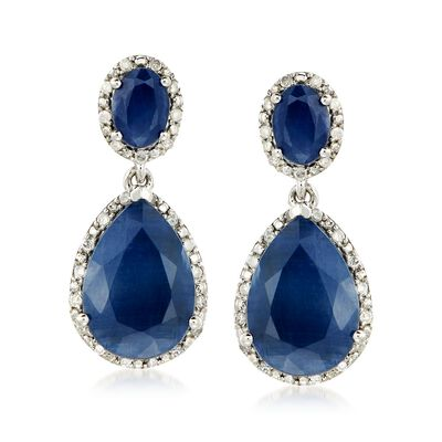 13.50 ct. t.w. Sapphire and .35 ct. t.w. Diamond Drop Earrings in Sterling Silver, , default