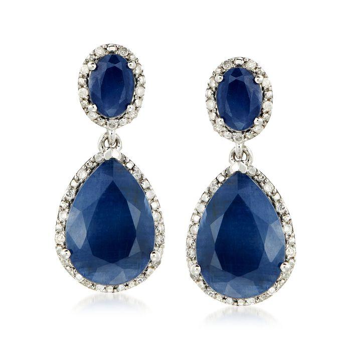 13.50 ct. t.w. Sapphire and .35 ct. t.w. Diamond Drop Earrings in Sterling Silver, , default