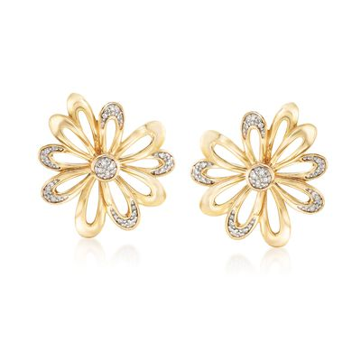 .10 ct. t.w. Diamond Open-Space Flower Earrings in 18kt Gold Over Sterling, , default