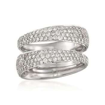 Roberto Coin 1.37 ct. t.w. Tapered Diamond Double Ring in 18kt White Gold. Size 7, , default
