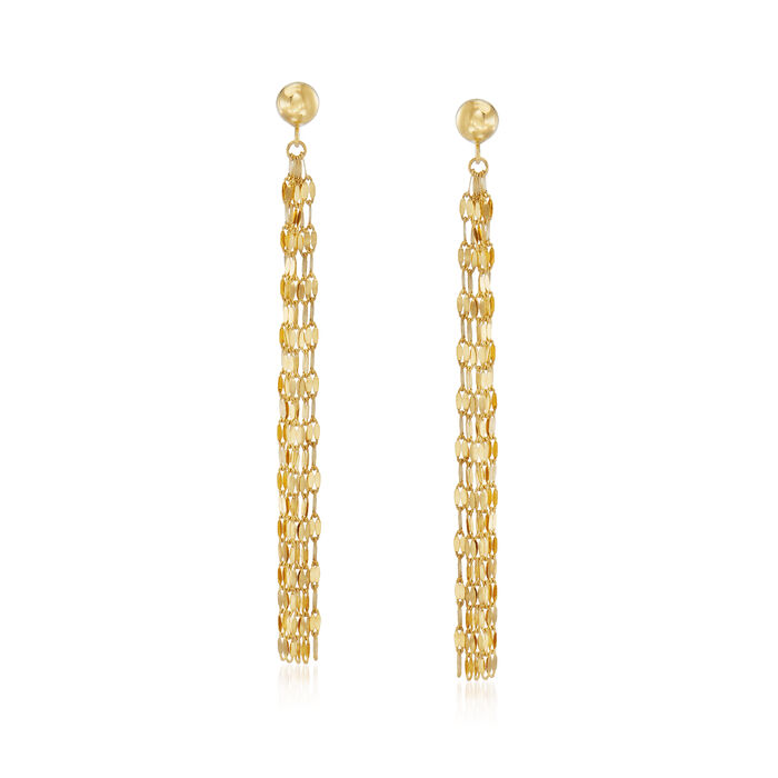 14kt Yellow Gold Tassel Drop Earrings, , default
