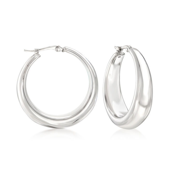 "Sterling Silver Graduated Hoop Earrings. 1"", , default"