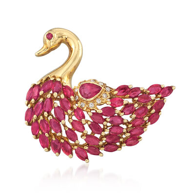 C. 1990 Vintage 3.62 ct. t.w. Ruby Swan Pin Pendant in 14kt Yellow Gold, , default
