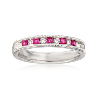 .20 ct. t.w. Ruby and .10 ct. t.w. Diamond Ring in 14kt White Gold, , default