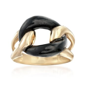 Black Jade Link Ring in 14kt Yellow Gold, , default