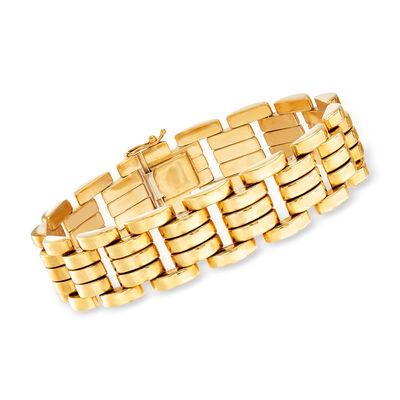 C. 1980 Vintage 18kt Yellow Gold Geometric-Link Bracelet, , default