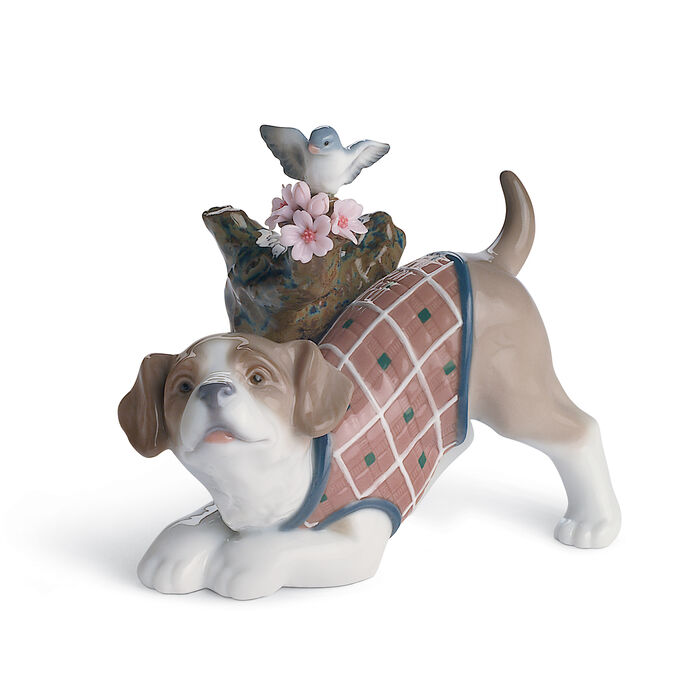 """Lladro """"Blossoms for the Puppy"""" Porcelain Figurine, , default"""