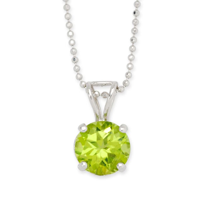 "2.00 Carat Peridot Solitaire Necklace in 14kt White Gold. 16"", , default"