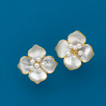 2-4mm Cultured Pearl Flower Earrings with Mother-Of-Pearl in 14kt Yellow Gold, , default