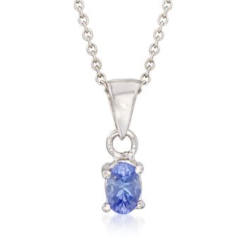 ".40 Carat Tanzanite Pendant Necklace in Sterling Silver. 18"", , default"