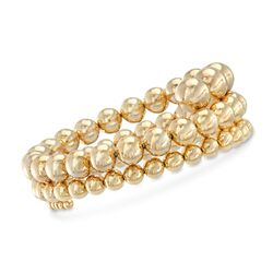 "Italian 3-10mm 18kt Gold Over Sterling Silver Bead Coil Bracelet. 7"", , default"