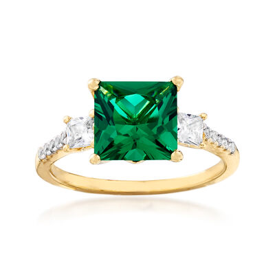 Simulated Emerald and .38 ct. t.w. CZ Ring in 18kt Gold Over Sterling, , default