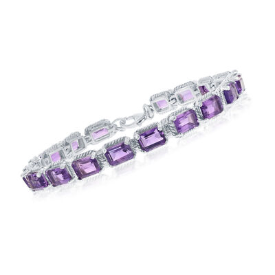 16.00 ct. t.w. Amethyst Bracelet on Sterling Silver, , default