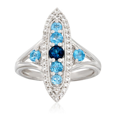 .90 ct. t.w. Blue Topaz and .10 ct. t.w. White Topaz Ring in Sterling Silver