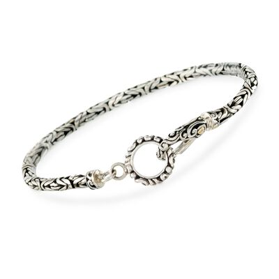 Balinese Sterling Silver and 18kt Yellow Gold Bali Bracelet, , default