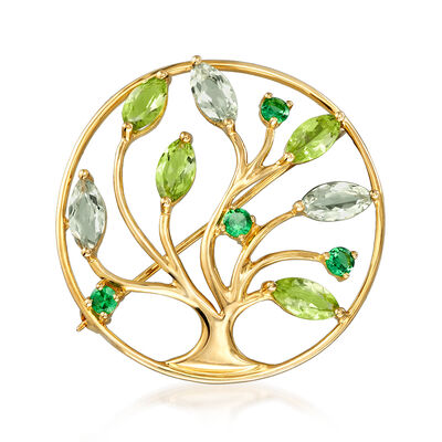 5.10 ct. t.w. Multi-Gemstone Tree Pin in 14kt Yellow Gold, , default