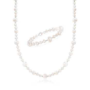 "5-9mm Cultured Pearl and Glass Bead Necklace With Free Bracelet. 18"", , default"