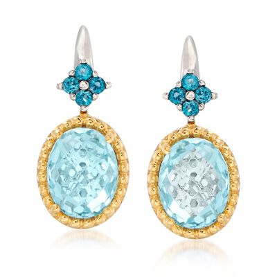 4.80 ct. t.w. Sky and London Blue Topaz Drop Earrings in Two-Tone Sterling Silver
