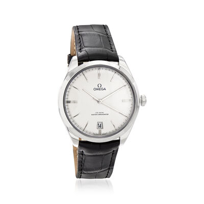 Omega De Ville Tresor Women's 40mm Automatic Stainless Steel Watch with Black Leather Strap