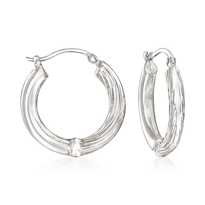 Sterling Silver Twisted Hoop Earrings. 3/4""
