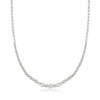 2.00 ct. t.w. Graduated Bezel-Set Diamond Necklace in 14kt White Gold, , default